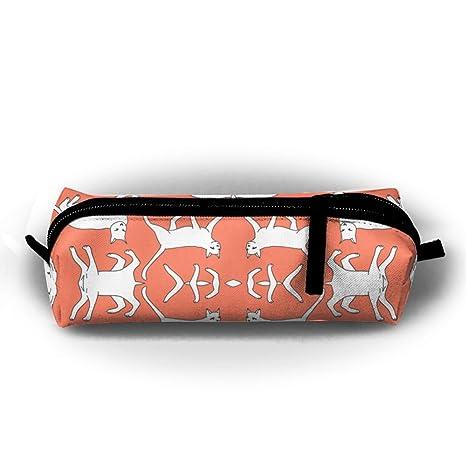 Estuche para lápices de gatos, color naranja, coral, gato frío, capacidad portátil