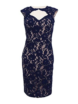 282865fbc0a Xscape Navy Womens Cut-Out Floral Lace Sheath Dress at Amazon ...
