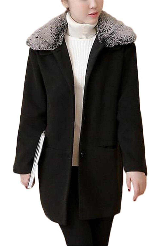 Women's Fashion Solid Outerwear Faux Fur Long Jacket Wool Coat