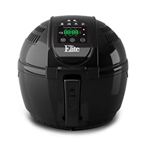 Elite EAF-1506D Platinum 3.5 Quart Electric Digital Air Fryer Cooker, 1400-Watts with 26 Full Color Recipes (Black)