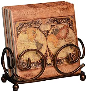 Thirstystone Occasions Stoneware Drink Coasters with Holder, Includes Old World Map