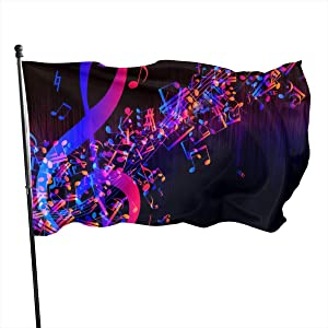 LAIUE Colorful Galaxy Music Note Garden Flag 3x5ft Vivid Color for Inside/Outside Use | UV Protected Garden Banner Flags Single Side Print