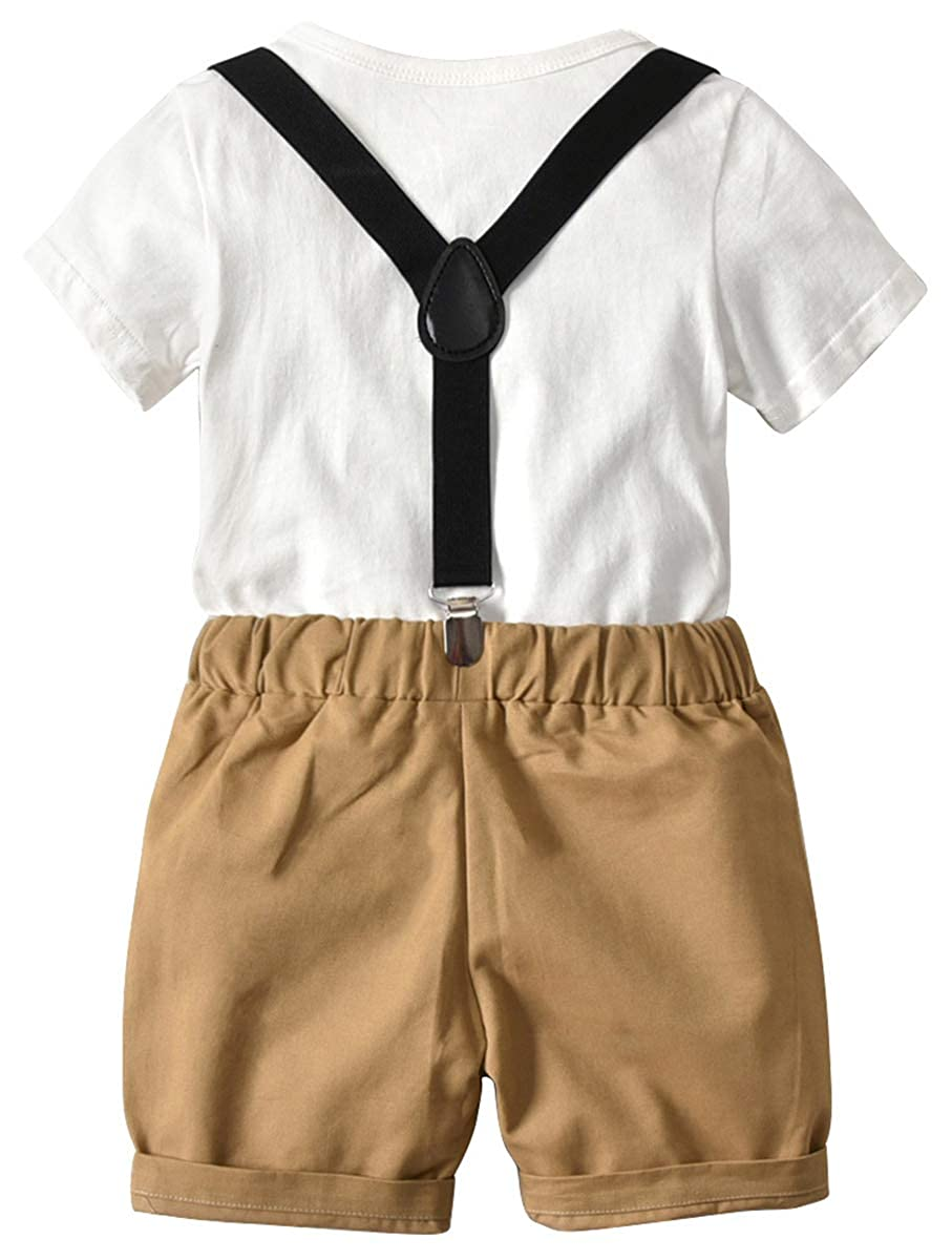 DAIMIDY Baby /& Little Boys T Shirt and Suspender Shorts Set 12 Months 6 Years