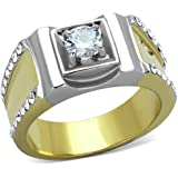 YourJewelleryBox TK204 MANS MENS SOLITAIRE PAVE SIMULATED DIAMONDS MENS RING PINKY SIGNET 2TONE