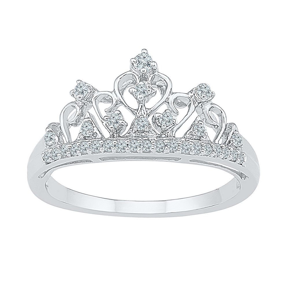 Jewels By Lux 10k White Gold Round Diamond Womens Womens Crown Tiara Cocktail Band 1/5 Cttw Ring Size 7 by Jewels By Lux