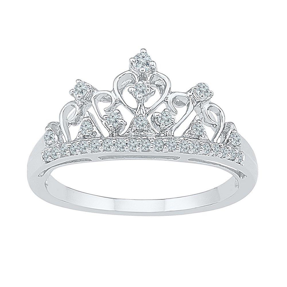 10k White Gold Band Style Ring Diamond Womens Womens Crown Tiara Fine Cocktail 1/5 Cttw