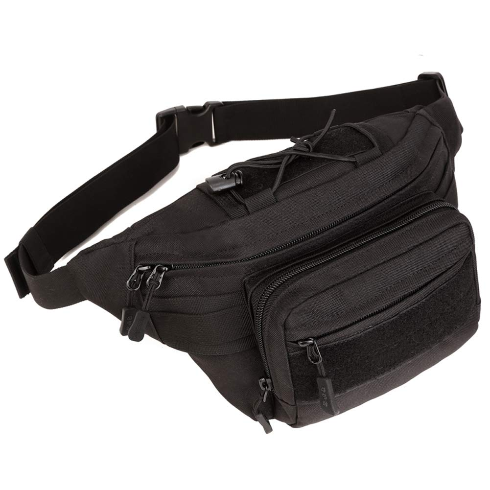 DYJ Tactical Waist Bag Pack, Military Fanny Pack with Adjustable Strap Water-Resistant Hip Bumbag for Outdoors Workout Traveling Casual Hiking Climbing Cycling(Black-2)