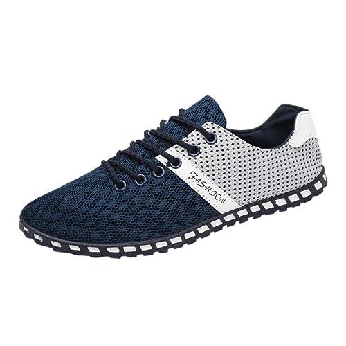 Sneaker Herren Casual Low Top Schnüren Outdoor Mesh Bequeme Atmungsaktive Sneakers Flache Schuhe Freizeitschuhe Bootsschuhe Leichte Schuhe