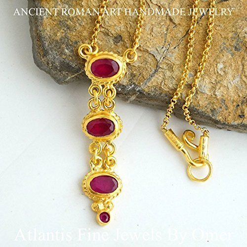 5k Sterling Silver 24k Gold Vermeil Handmade By Omer (Ruby Vermeil Necklace)