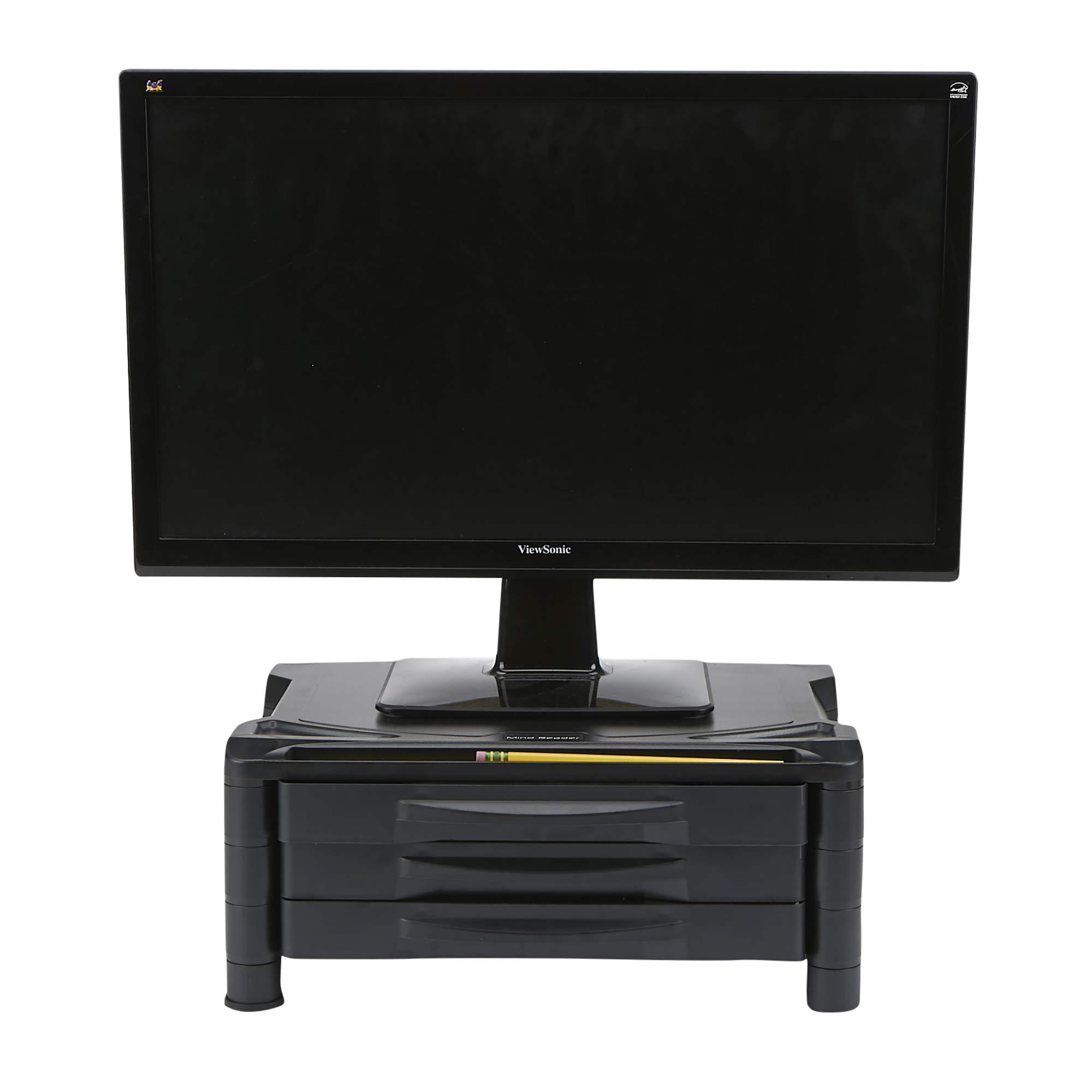 Mind Reader 3DRPLMONST-BLK 3 Drawer Tier Plastic Monitor Stand with Storage for Computer, Laptop, Desk, iMac, Dell, HP, Printer, Black, by Mind Reader