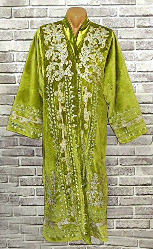 STUNNING UZBEK SILVER SILK EMBROIDERED UNISEX ROBE CHAPAN FROM BUKHARA A8186 by East treasures
