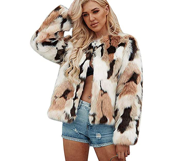 the best low price sale 100% satisfaction Womens Winter Warm Colorful Faux Fur Coat Chic Jacket Cardigan Outerwear  Tops for Party Club Cocktail