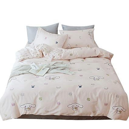 . BHUSB Cute Cinnamoroll Print Kids Girls Bedding Duvet Cover Set Twin Soft  Cotton Reversible Animal Dogs Pink Teens Boys Bedding Sets Twin 3 PC Single