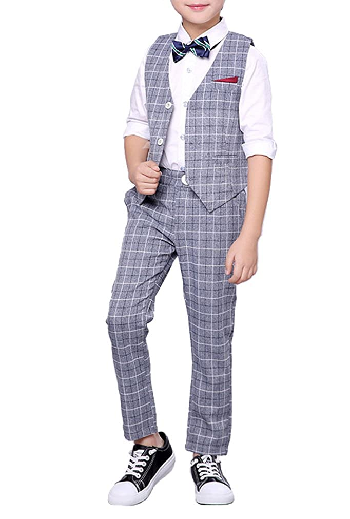 Boys Summer Suit Set 3 Pieces Shirt Vest and Shorts Set Blue Gray and Pink