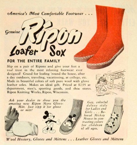 1949 Ad Ripon Loafer Sox Footwear Disney Mickey Mouse Shoes Clothing Fashion - Original Print - Clothing Footwear