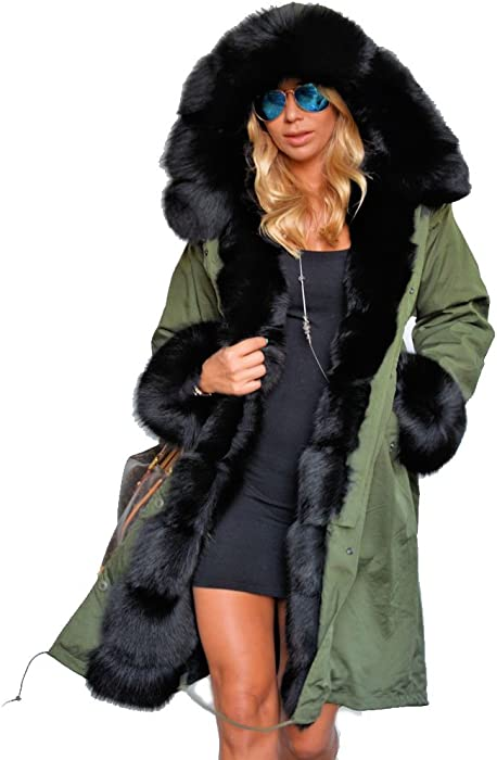83af0b19c2e Roiii Women s Winter Thicken Faux Fur Hooded Plus Size Parka Jacket Coat  Size S-3XL