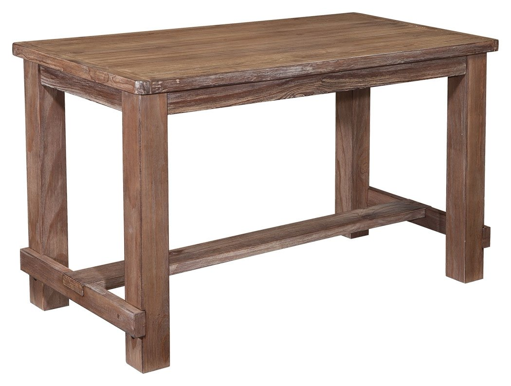 Ashley Furniture Signature Design - Pinnadel Counter Dining Table - Weathered Brown Finish w/ Gray Undertones - CLASSIC COUNTER HEIGHT DINING ROOM TABLE: Slip into a relaxed state of mind whenever you pull up to this clean-lined dining room table with a stretcher base. Great for the kitchen or breakfast room SIMPLE FORM: Crafted from wood with manmade wood and veneer details CASUAL LIGHT BROWN FINISH: Gently weathered look features gray undertones and a wire-brushed effect - kitchen-dining-room-furniture, kitchen-dining-room, kitchen-dining-room-tables - 61UgJm ZIjL -