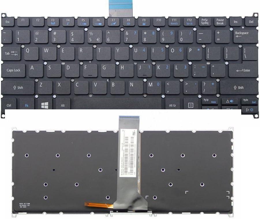 New US Layout Laptop Backlit Keyboard (Without Frame) Replacement for Acer Aspire ES1-131 R3-131T ES1-311 ES1-331 V3-111P V3-112P V5-122P V5-132 V5-132P Light Backlight Black Notebook US