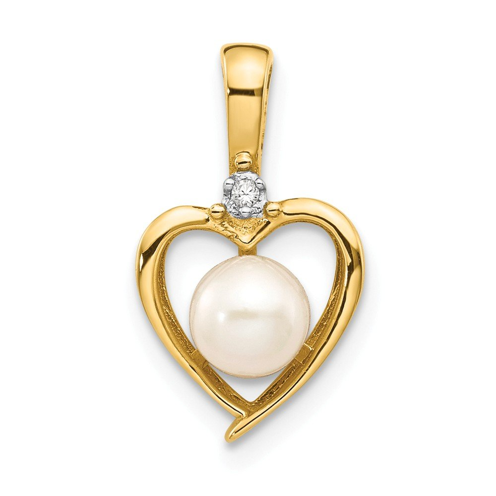 Mia Diamonds 14k Yellow Gold Diamond and FW Cultured Pearl Pendant
