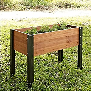 Bloomfield Wood Raised Garden Bed Crafted From Durable Fir Wood In Dark  Stained Wood Legs  40L X 20D X 29H In.