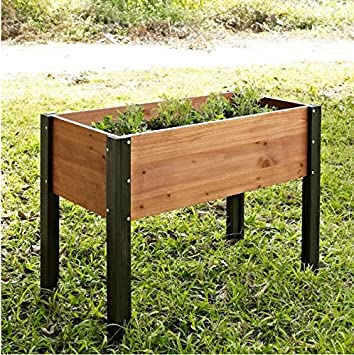 Bloomfield Wood Raised Garden Bed Crafted From Durable Fir Wood In Dark  Stained Wood Legs