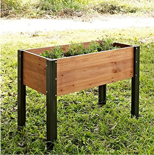 Bloomfield Wood Raised Garden Bed Crafted from Durable Fir Wood in Dark Stained Wood Legs- 40L x 20D x 29H in. by Coral Coast