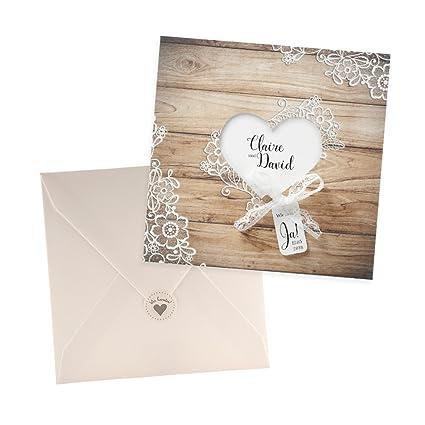Weddix Holz Optik Einladungskarte Molly Zur Hochzeit 3 Stuck Blanko