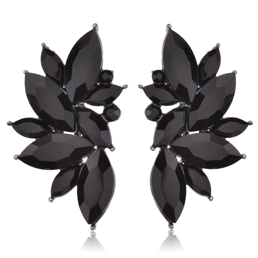 Leaf Black Cluster Crystal Stud Earrings for Women Girls by Ginasy