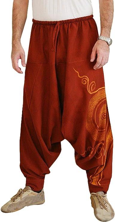 Aowoey 2019 New Hip Hop Aladdin - Pantalones de Lino y algodón para Hombre, Talla Grande, Pierna Ancha, Pantalones Informales, Cruzados - Rojo - Medium: Amazon.es: Ropa y accesorios
