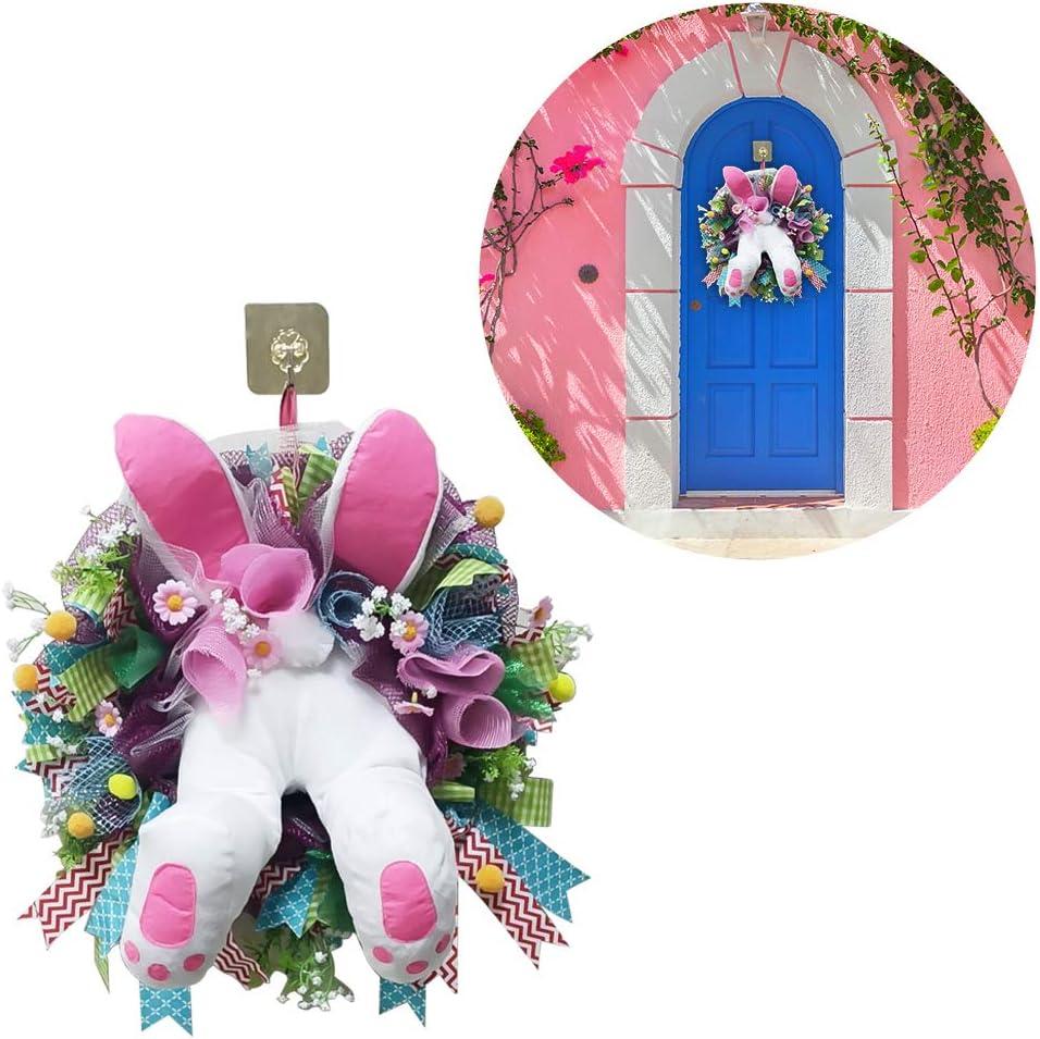 iScooter Easter Bunny Wreath Door Decorations Spring Wreath Easter Garland Easter Wreaths for Front Door Bunny Butt and Ears Wreath Easter Bunny Decor Outdoor Indoor Rabbit Wreath