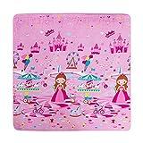 MeMoreCool Pink Princess Cartoon Area Rugs Anti-slip Kids Bedroom Carpet Thicken Baby Crawling Mats Machine Washable Rugs 59 X 77 Inch