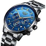 Men's Business Quartz Watch Classic Blue Dial Waterproof 24-Hour Chronograph Casual Wrist Watches for Men (Blue)