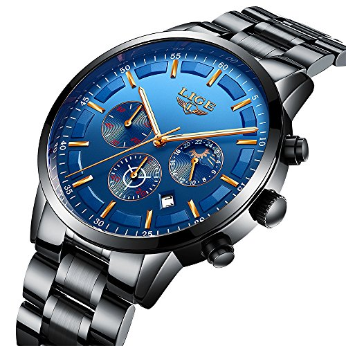 Men's Business Quartz Watch Classic Blue Dial Waterproof 24-hour Chronograph Casual Wrist Watches For - Chronograph Elegance