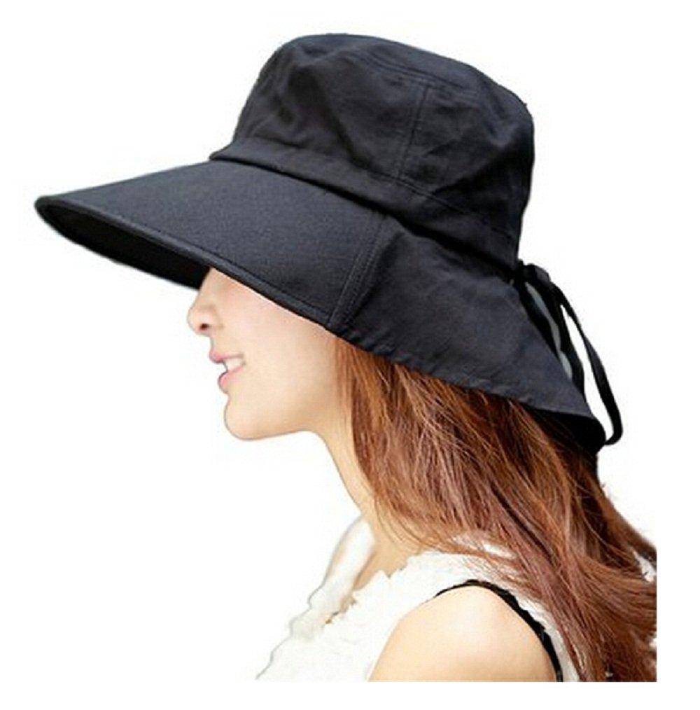 レディース帽子、abcmallレディース用夏フラップカバーキャップコットンUPF 50 +サンシェード帽子ネックコード付き B01IQNT7Y2 Black #02 Black #02