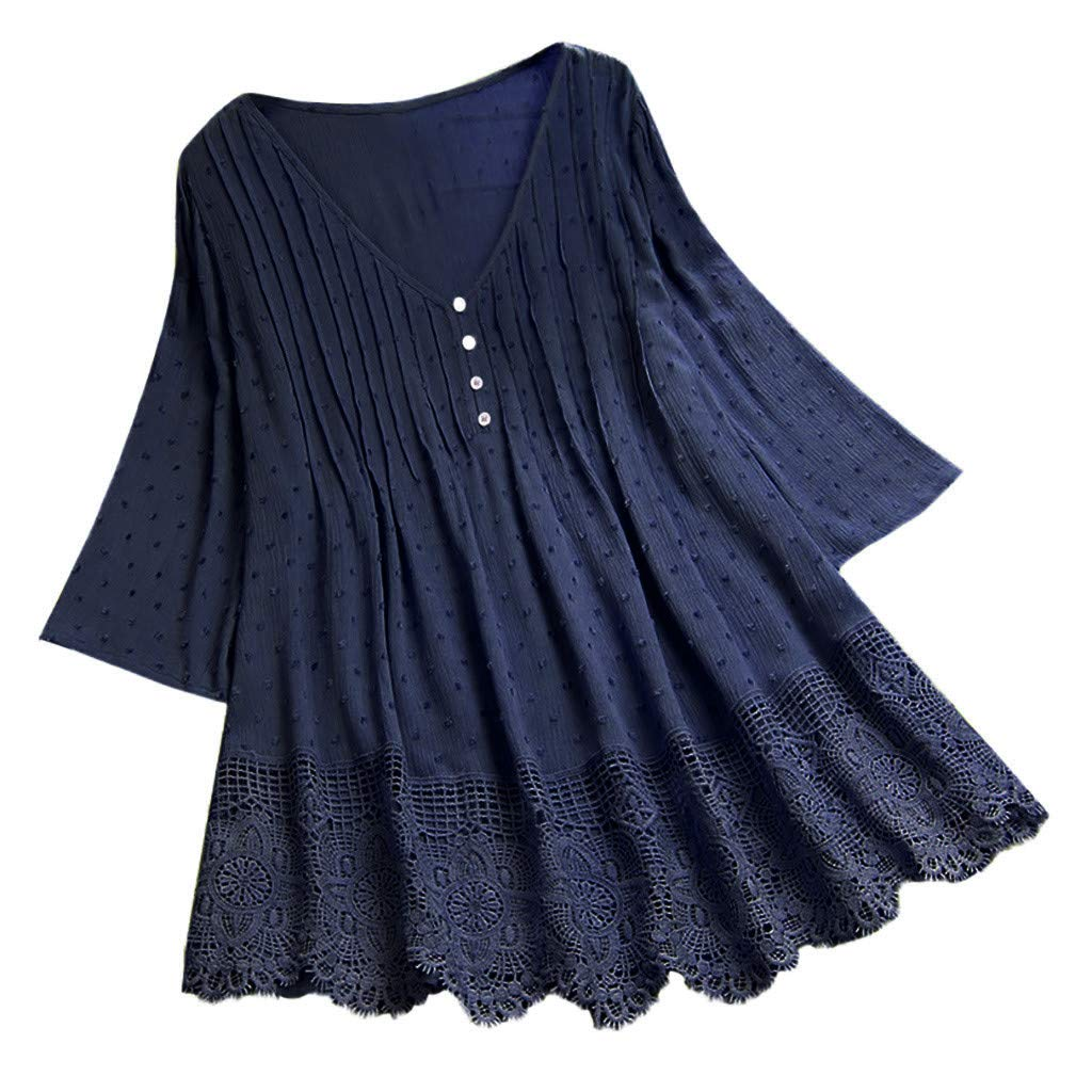 HJuyYuah Women Vintage Jacquard Three Quarter Lace V-Neck Plus Size Top T-Shirt Blouse Navy by HJuyYuah