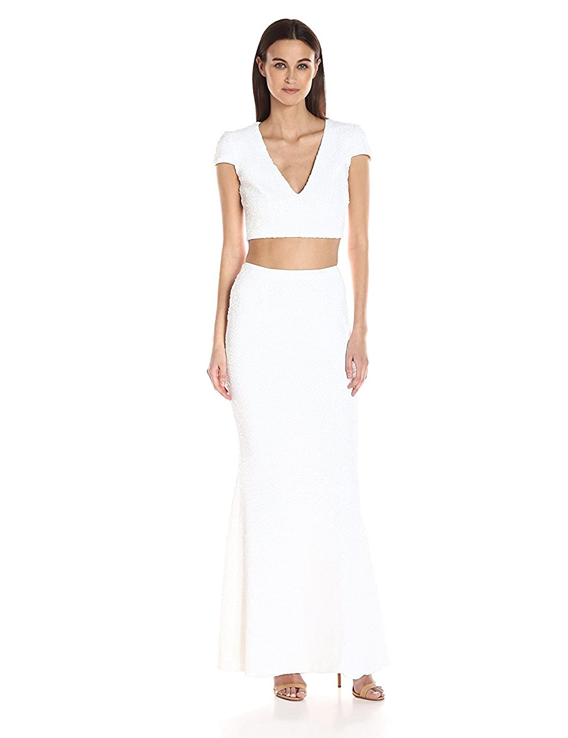 Dress the Population Women's Cara Two Piece Sequin Gown White XL [並行輸入品] B075CJLDHD