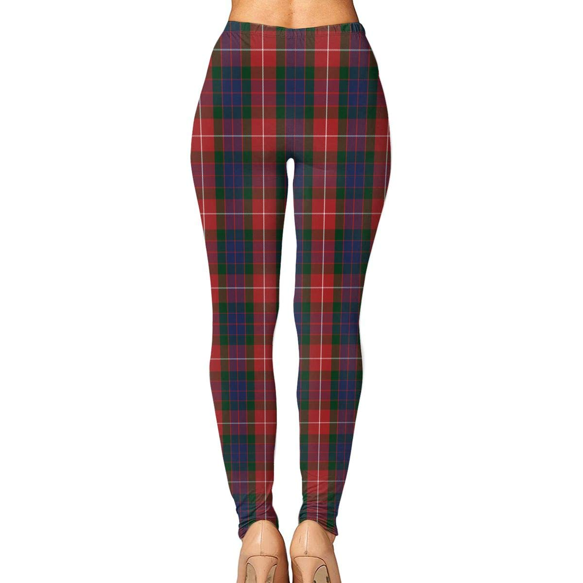 9a03723e1cce9 Amazon.com: Fraser Red Tartan Women's Yoga Leggings Running Tights Sports  Leggings: Clothing