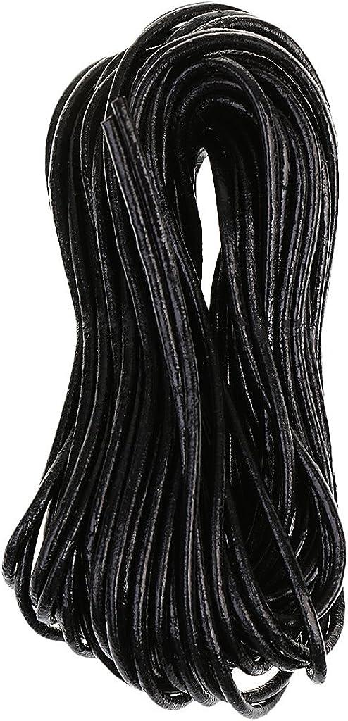 Redondo Negro Cordón Cuerda De Cuero Genuino / 2mm / Vendido Por ...
