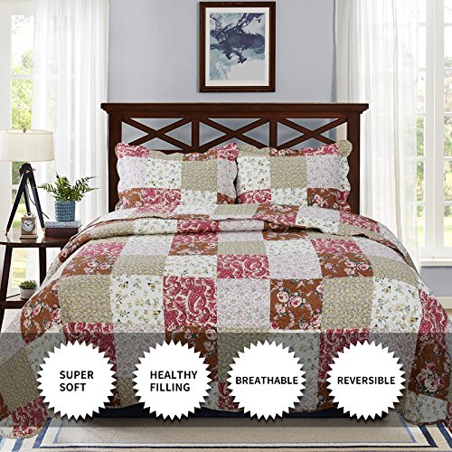 YESHOME Printed Quilt Set Patchwork Decorative Bedspread Coverlet - King, Full/Queen Size-Chic Story(Twin)