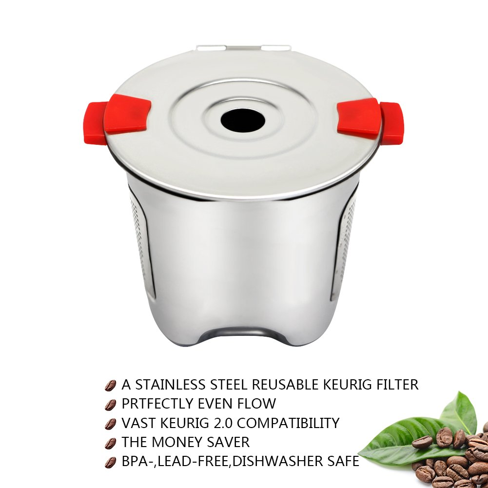 KORSREEL 2 Piece Premium Stainless Steel Reusable K Cups Refillable Coffee Filter, Compatible with Keurig Brewers 1.0 and 2.0 for K200, K300 etc. Series by KORSREEL (Image #2)