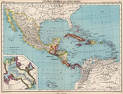 Panama Canal Location On World Map.Amazon Com Caribbean Central America Inset Panama Canal Zone