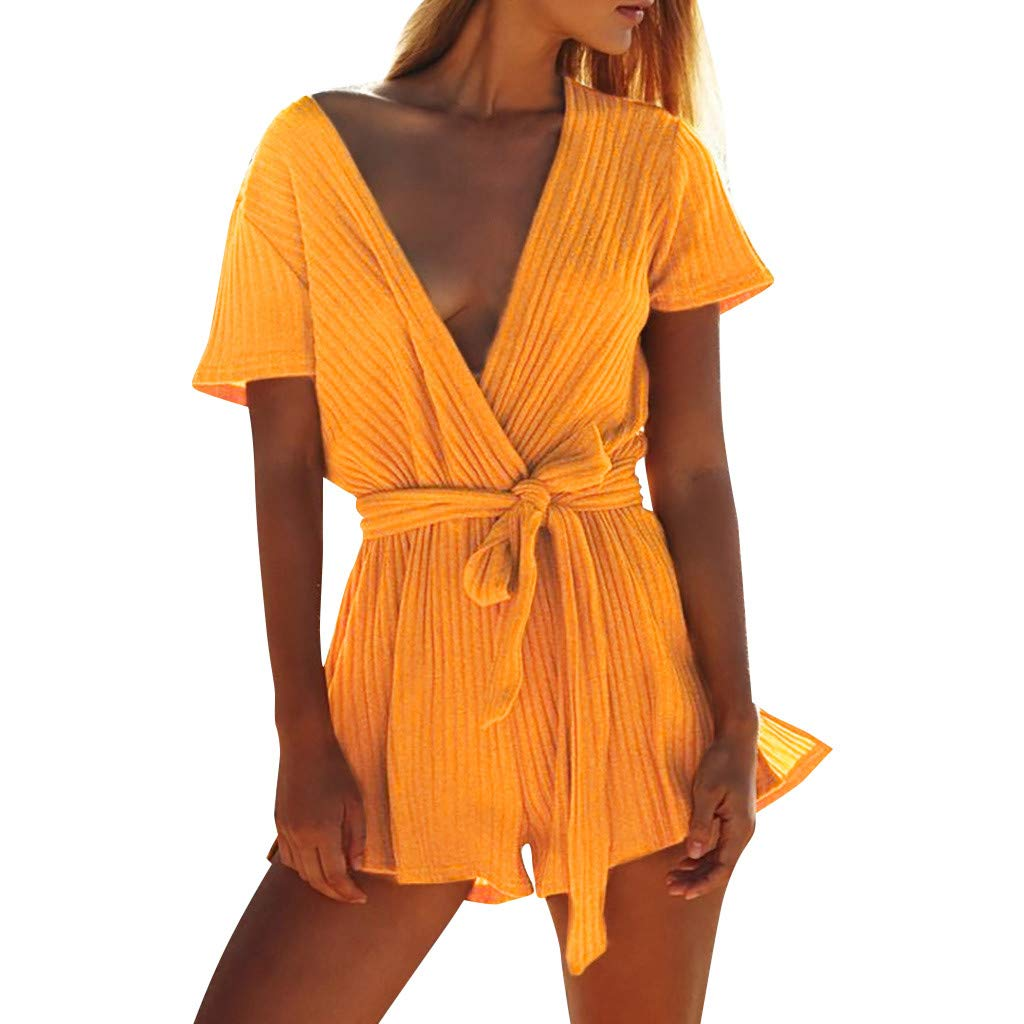 Ymibull Women Casual Ribbed V-Neck Solid Color Wrap Jumpsuit Summer Beach Sexy Shorts Rompers (Yellow, S)