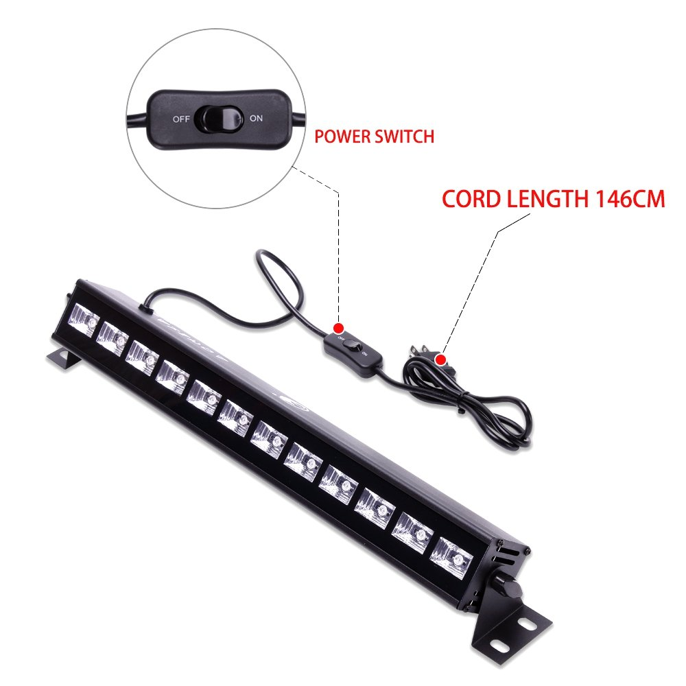 Black Light Bar 12 LED x 3W UV Light Neon Light Party Lights with 4.79ft Switch Cord for Garage Glow Parties Halloween Party Stage Lighting Neon Party Wedding Holiday Show Club Pub Disco DJ by U`King (Image #5)