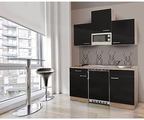 respekta KB150ESSMI Single Mini Küche Küchenzeile Küchenblock 150 ...