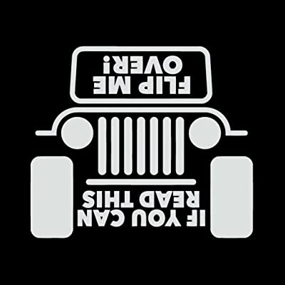 CCI Jeep Flip Me Over Funny Decal Vinyl Sticker|Cars Trucks Vans Walls Laptop| White |5.5 x 5.25 in|CCI663: Automotive