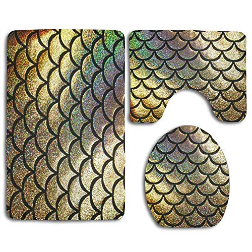 (jiebokejiHFGD Bathroom Carpet Mat Set 3 Piece Including Bath Mat + Pedestal Mat + Toilet Seat Cover Mat, Non-Slip Absorbent and Easy to Clean - Gold Mermaid Scales)