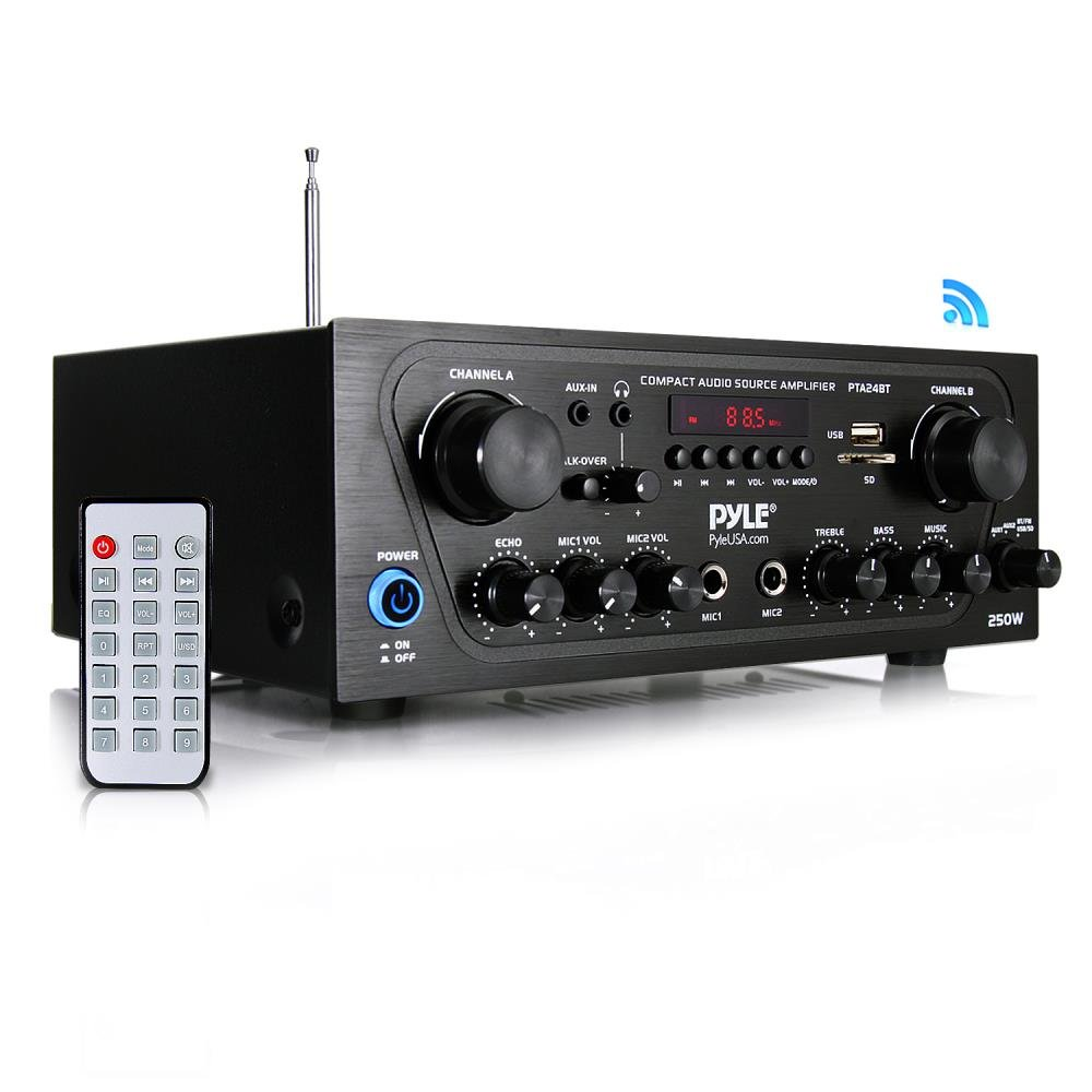 Pyle Upgraded Karaoke Bluetooth 2 Channel Home Audio Sound Power Amplifier with Aux-in, USB, 2 Microphone Input with Echo, Talkover for PA, Black (PTA24BT) Sound Around