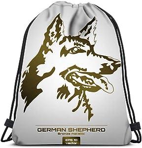 Drawstring Backpack Bronze Metallic German Shepherd Dog Head Laundry Bag Gym Yoga Bag