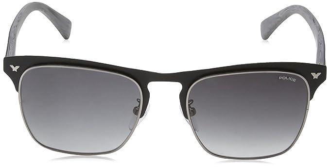 Police S8949 Momentum 1 Rechteckig Sonnenbrille, Semi Matt Turquoise & Dark Blue Frame/blue Mirror Lens