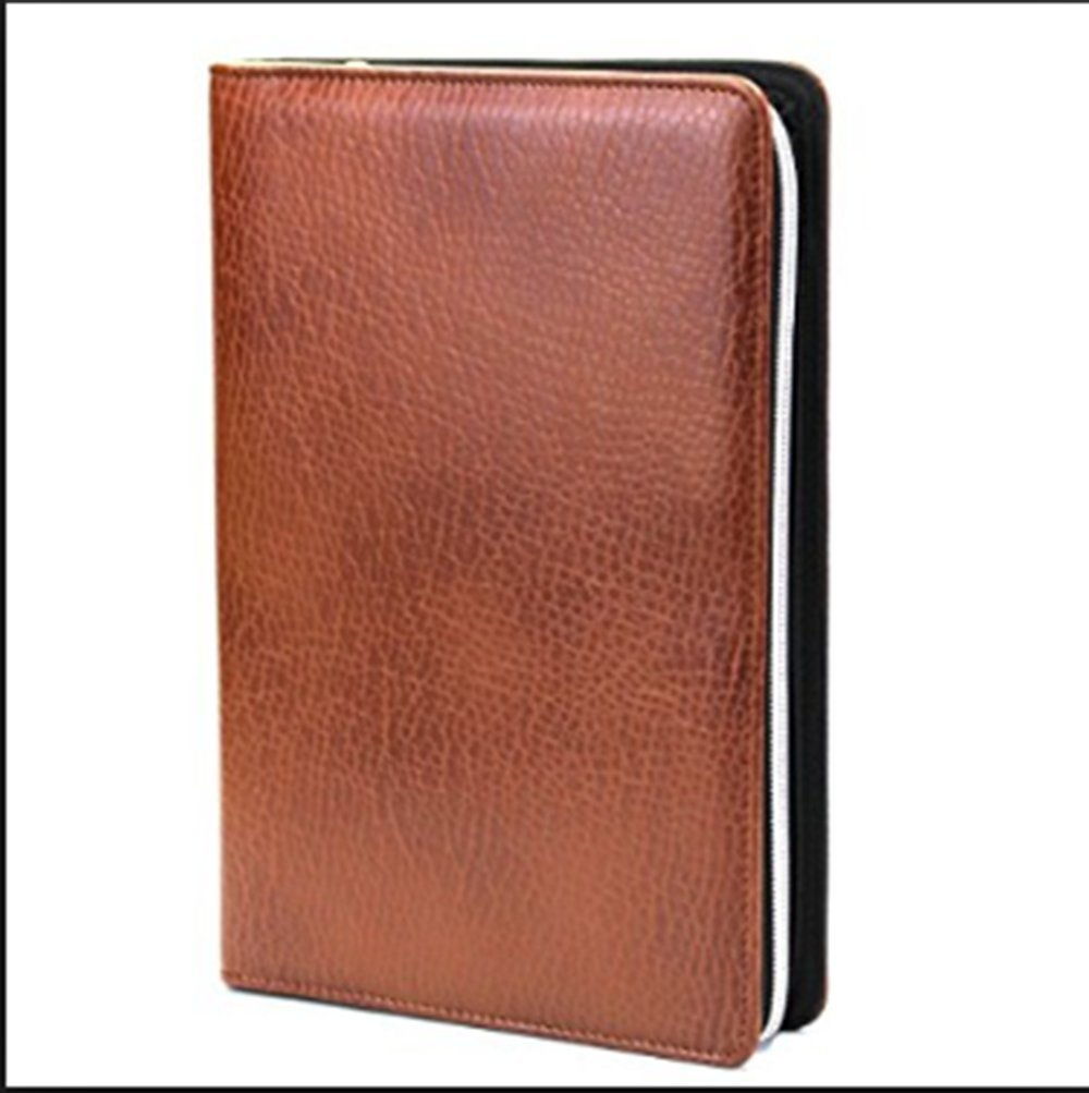 PU Leather Business Zippered 6-ring Padfolio Portfolio with Calculator and Writing Pad,Pagefinder Ruler,Clear PVC Card Bag include (Brown, A5)
